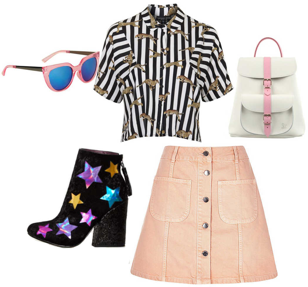 70s inspired outfit, 70s spring outfit, 70s fashion style inspiration, pink denim a-line skirt, pink sunglasses, 70s velvet star boots