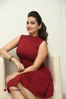 Telugu Tollywood Anchor Manjusha Pos in Red Short Dress  0080.JPG