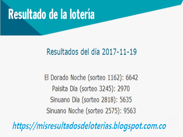Como jugo la lotería anoche | Resultados diarios de la lotería y el chance | resultados del dia 19-11-2017