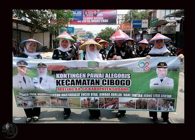 Pawai Alegoris Kec. Cibogo Meriahkan HUT Kabupaten Subang ke-68. Foto dapet nyomot dari akun medsosnya bu  Chi-chi Thea, Camat Cibogo.