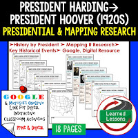 President Harding to Hoover, American History Research Graphic Organizers, American History Map Activities, American History Digital Interactive Notebook, American History Presidential Research, American History Summer School
