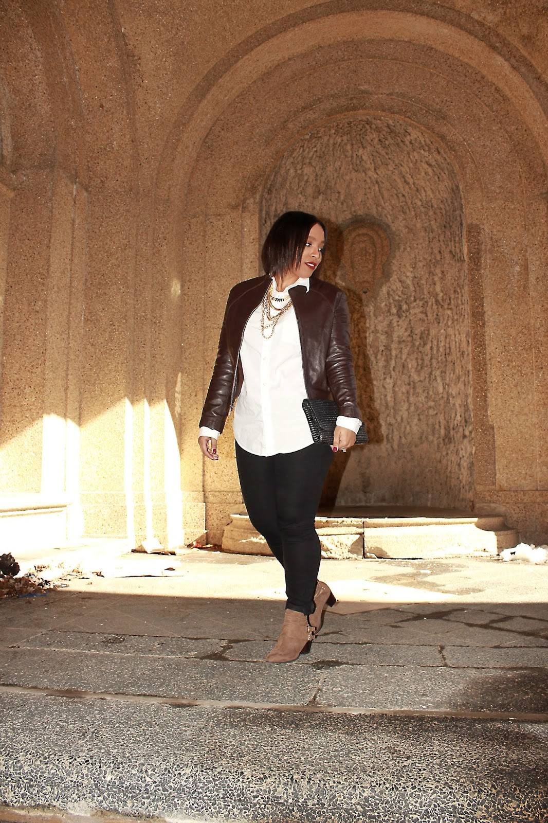 faux leather, jacket, brown jacket, white button down, shoedazzle, booties, wearing black and brown, fashion, outfits