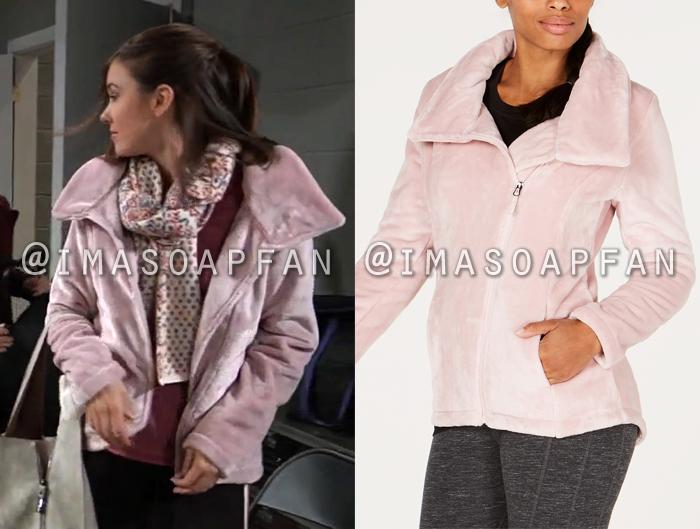 Willow Tait, Katelyn MacMullen, Light Pink Asymmetrical Zip Fleece Jacket, General Hospital, GH