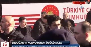 شاهد بالفيديو حافلة الرئيس التركي تدهس أحد حراسه