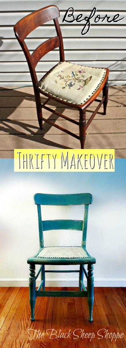 Updated thrift store chair. Duck Egg Blue.