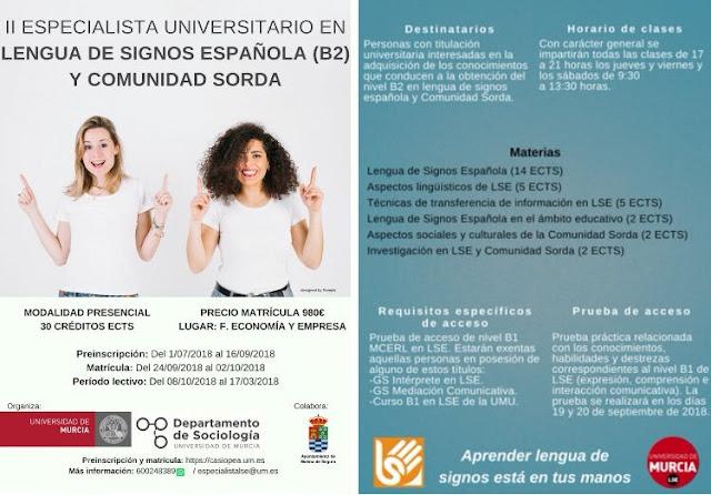 II edición de especialista universitario en lengua de signos española (B2) y comunidad sorda