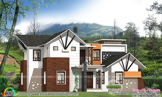 Resort type mix roof home plan