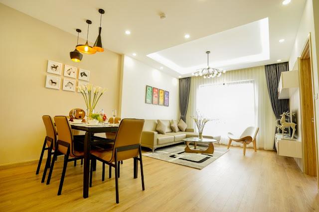 Phòng khách và phòng ăn căn hộ The K Park