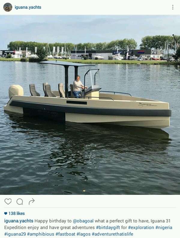 Obafemi Martins Receives A Boat 'Iguana 31 Expedition' As Birthday Gift (Photos)