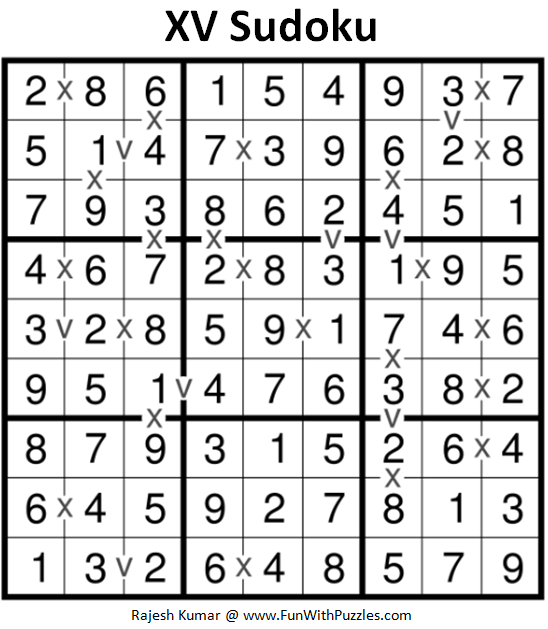 Answer of XV Sudoku (Fun With Sudoku #240) Puzzle