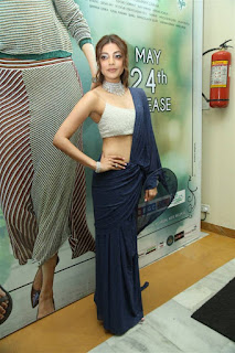 Kajal Agarwal In Blue Lehenga Choli At Sita Movie Pre Release (4)