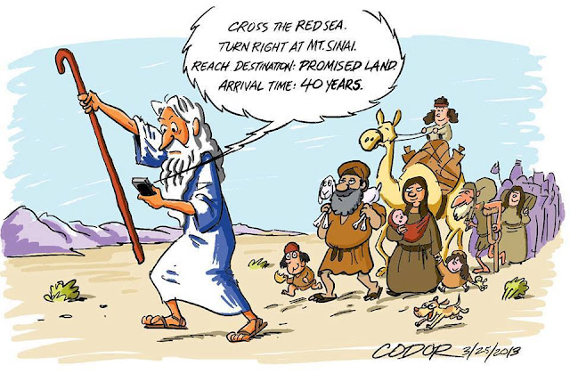 Funny Moses SatNav Cartoon Religious Picture