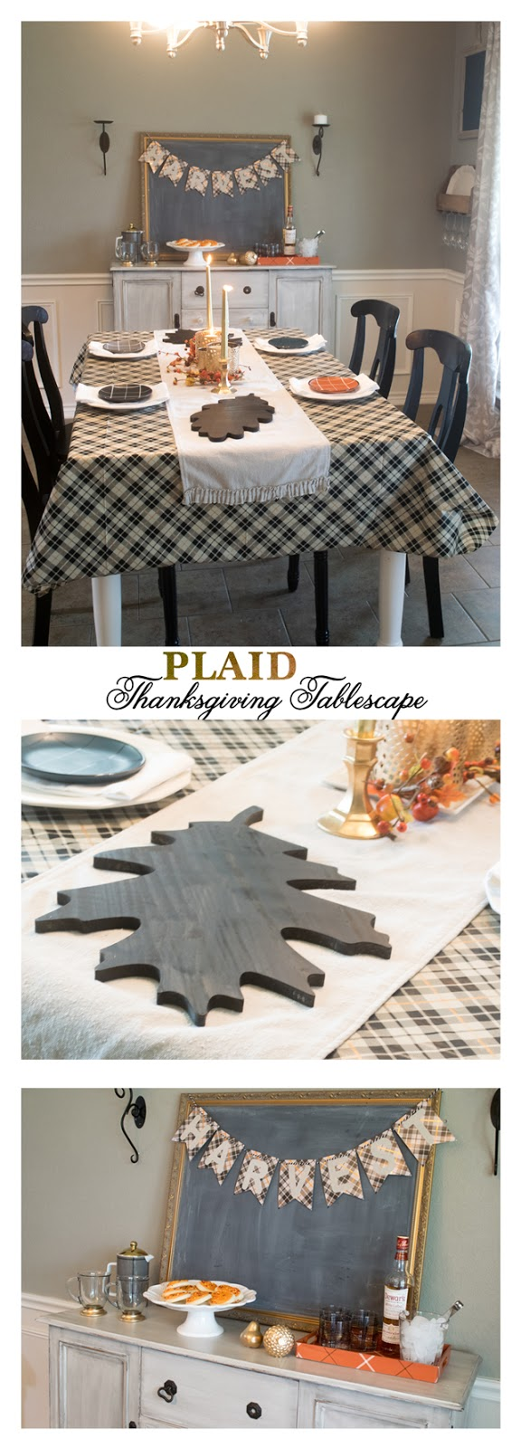 This fun Thanksgiving tablescape, buffet and dining room decor utilizes the many plaid items available at Target this fall.