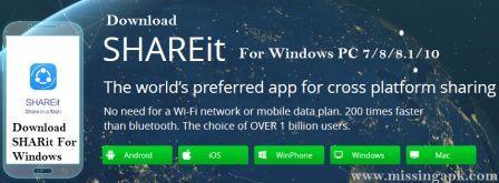 Download SHAREit For Windows PC 2018-www.missingapk.com