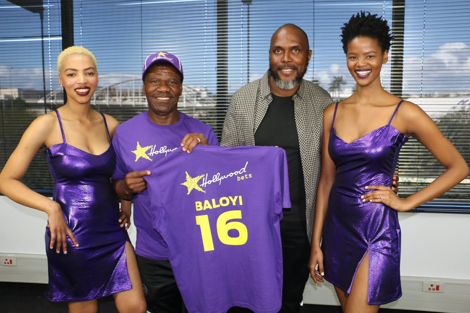 Brian Baloyi with Jerry Sikhosana and Hollywoodbets Girls - Announcement of new Hollywoodbets Brand Ambassador - Number 16