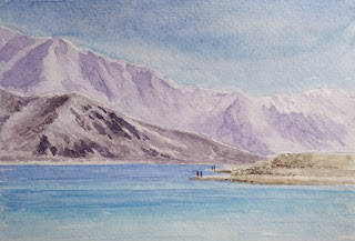 Water colour painting of Pangong lake in Ladakh, on Strathmore paper