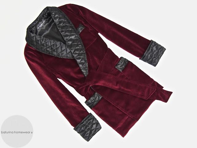 Mens velvet smoking jacket quilted silk robe dressing gown