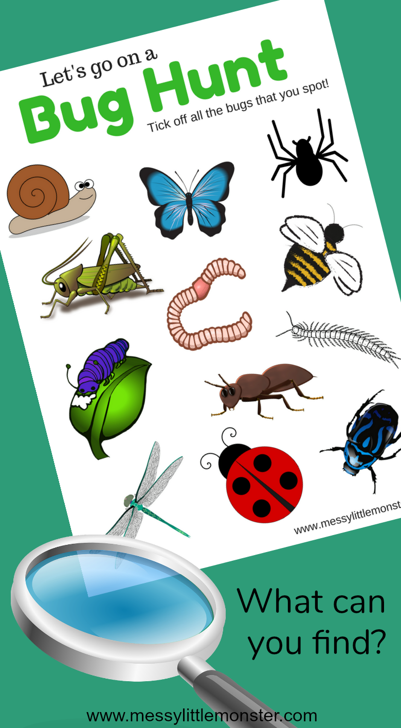 A free printable bug scavenger hunt for minibeast loving toddlers, preschoolers and kids. What insects will you find? A great outdoor activity for Spring.