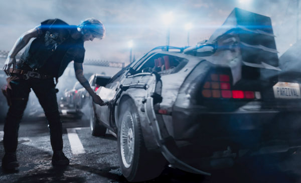 Parzival (voiced by Tye Sheridan) and his souped-up DeLorean in READY PLAYER ONE (2018)