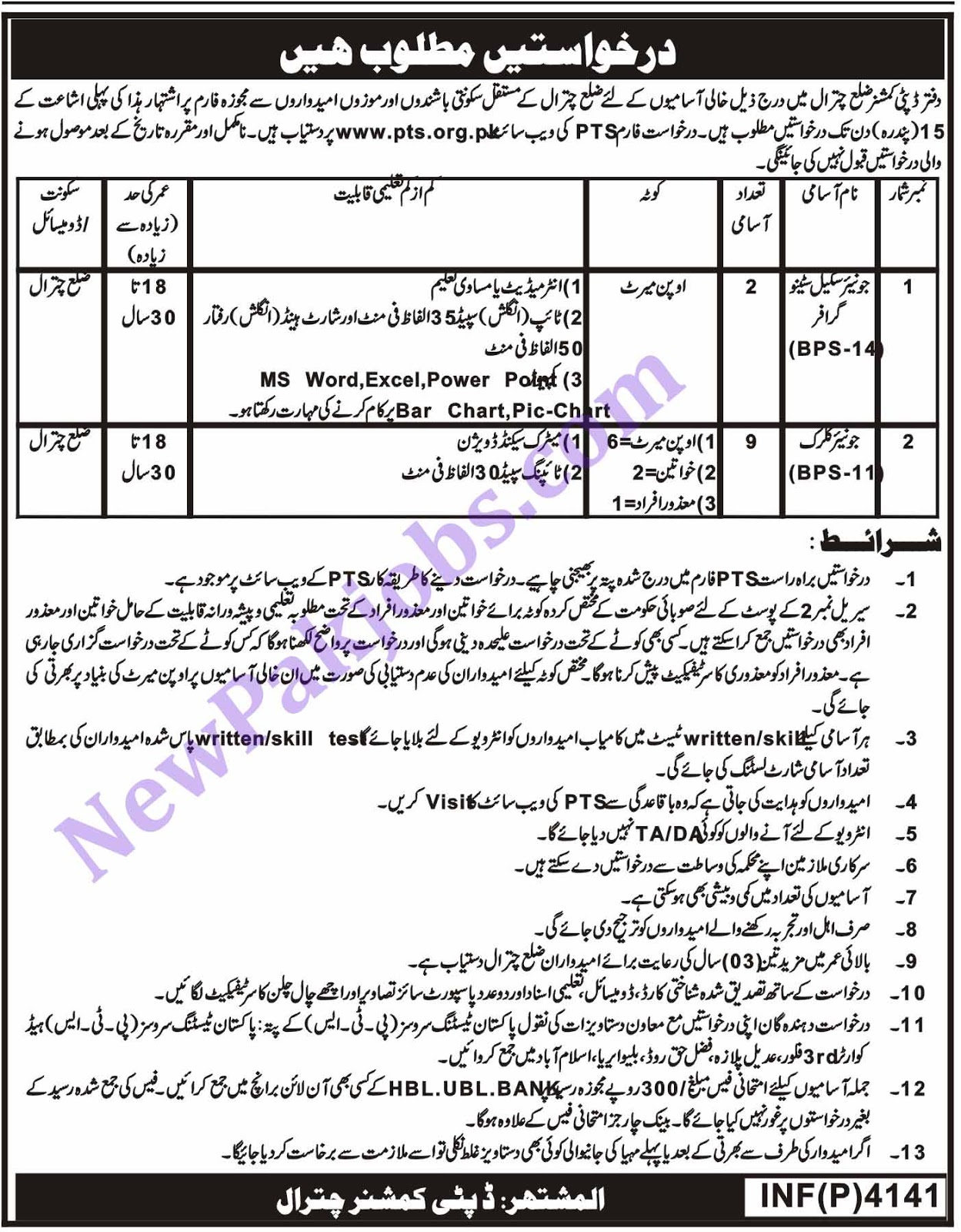 Intermediate and Matric Pass Jobs Through PTS in Chitral