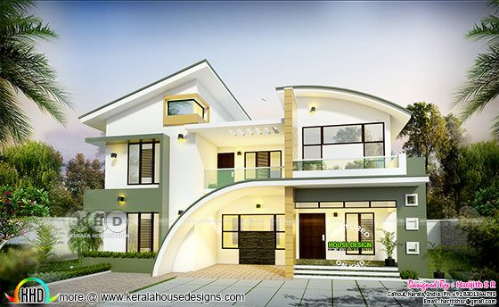 Curved roof mix 2848 sq-ft home design