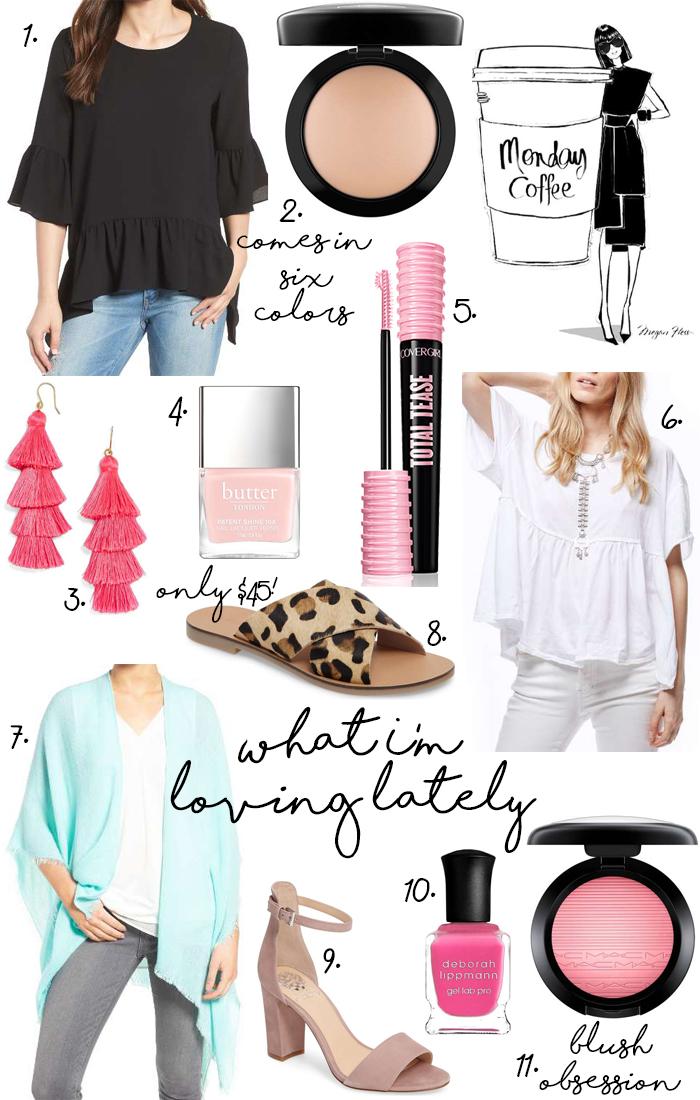ruffle top, peplum tee,shawl, tassel earrings, leopard sandals, mascara, powder, nail polish, blush