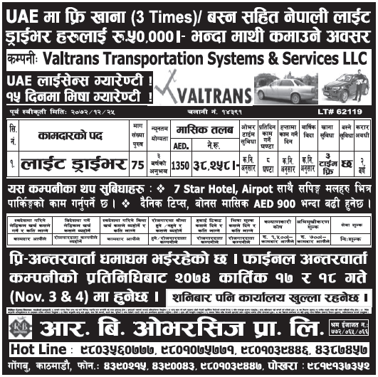 Jobs in UAE for Nepali, Salary Rs 38,258