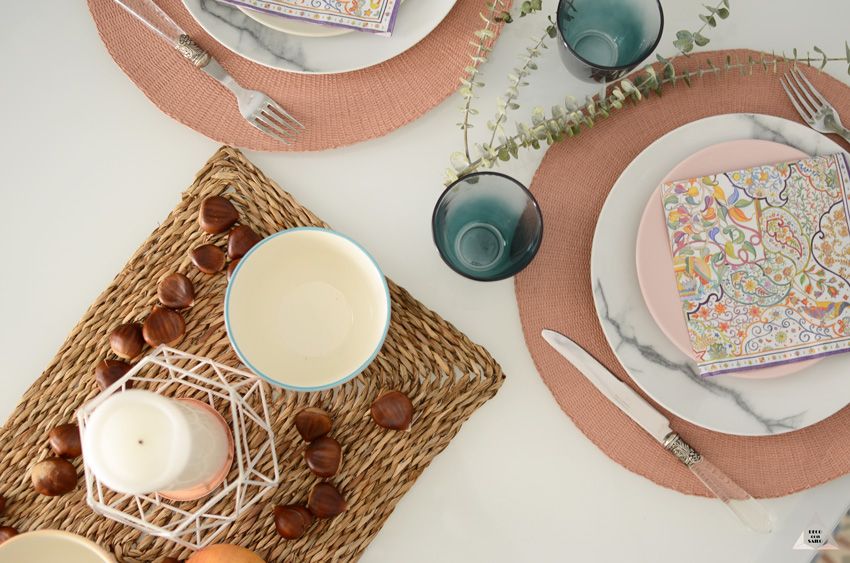 montaje mesa en la cocina decoración
