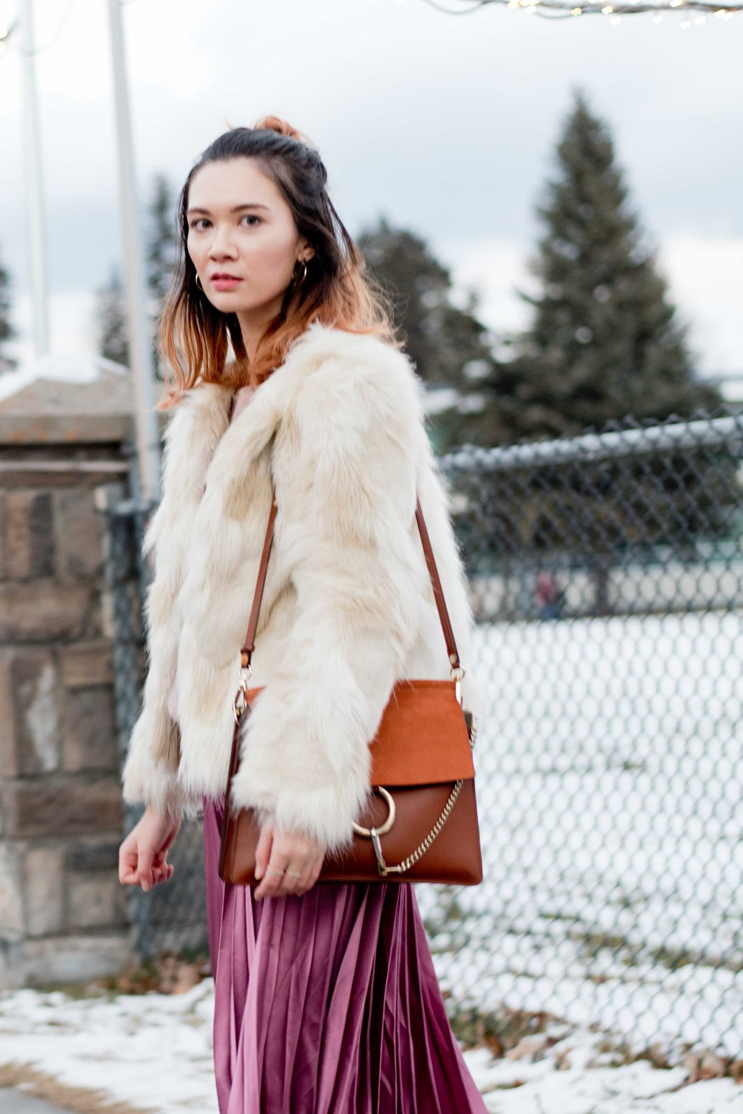 Pleated Midi Skirt, Fur Coat, Banff