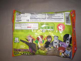 Back of Hotel Transylvania Candy Sticks bag
