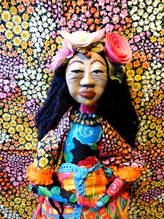 OOAK Folk Art Doll Mexican Woman at Marketplace Cloth and Clay Art Doll