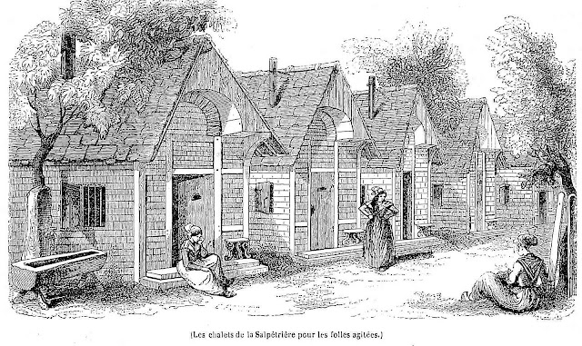 The chalets of La Salpetriere for the crazy agitated, an 1843 illustration