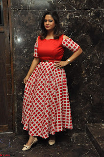 Shilpa Chakravarthy looks super cute in Red Frock style Dress 002.JPG