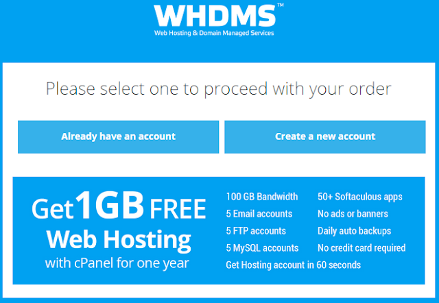 Get Free 1GB Web Hosting with cPanel for One Year from WHDMS.com : eAskme