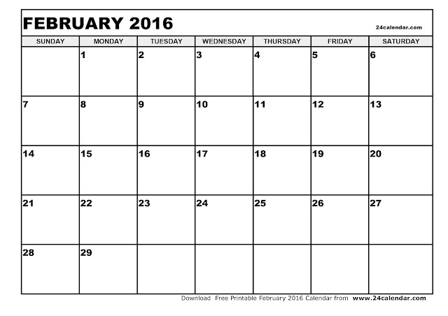 February 2016 Blank Calendar, February 2016 Printable Calendar, February 2016 Calendar Printable
