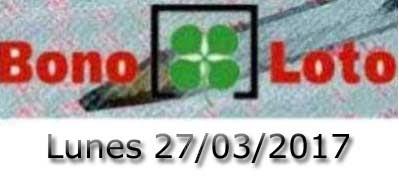 Lotería Bonoloto del lunes 27-03-2017