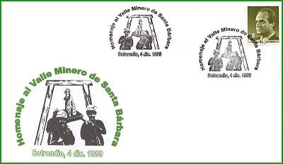 Sobre con matasellos Homenaje al Valle Minero Santa Bárbara, pozos San Mamés y Cerezal, Grucomi, Sotrondio, 1999