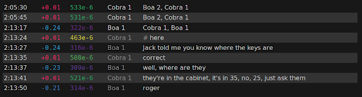 [Image: A few lines from a conversation between Boa 1 and Cobra 1. Numbers in different colors are printed in front of each line.]