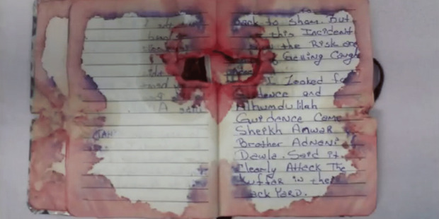 New York and New Jersey bomber Ahmad Khan Rahami copy of bloody, bullet-hit journal displayed at hearing
