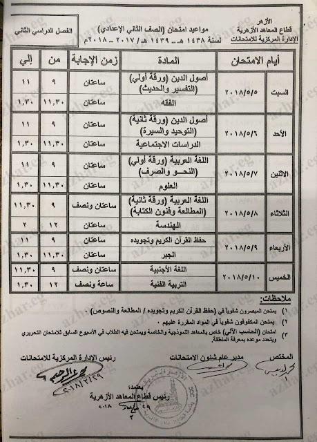 جدول مواعيد إمتحانات الصف الثانى الاعدادى الازهرى 2018 الفصل الدراسى الثانى