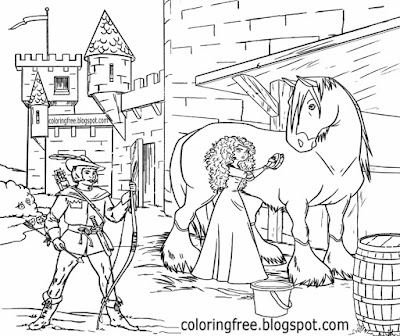 Folklore famous outlaw Robin Hood and Maid Marian coloring medieval castle drawing ideas for teens