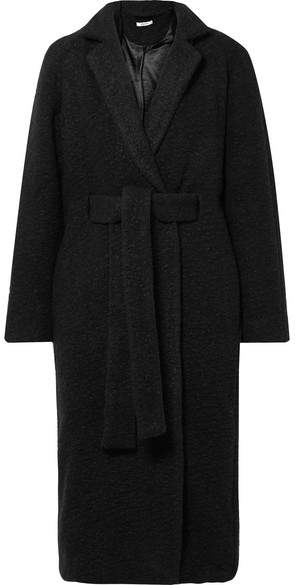 GANNI - Fenn Oversized Belted Wool-blend Bouclé Coat – Black