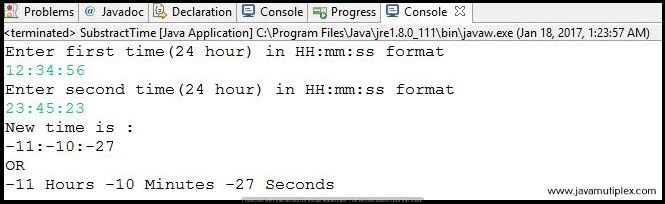 Output of Java program that subtracts two given times in HH:mm:ss format.