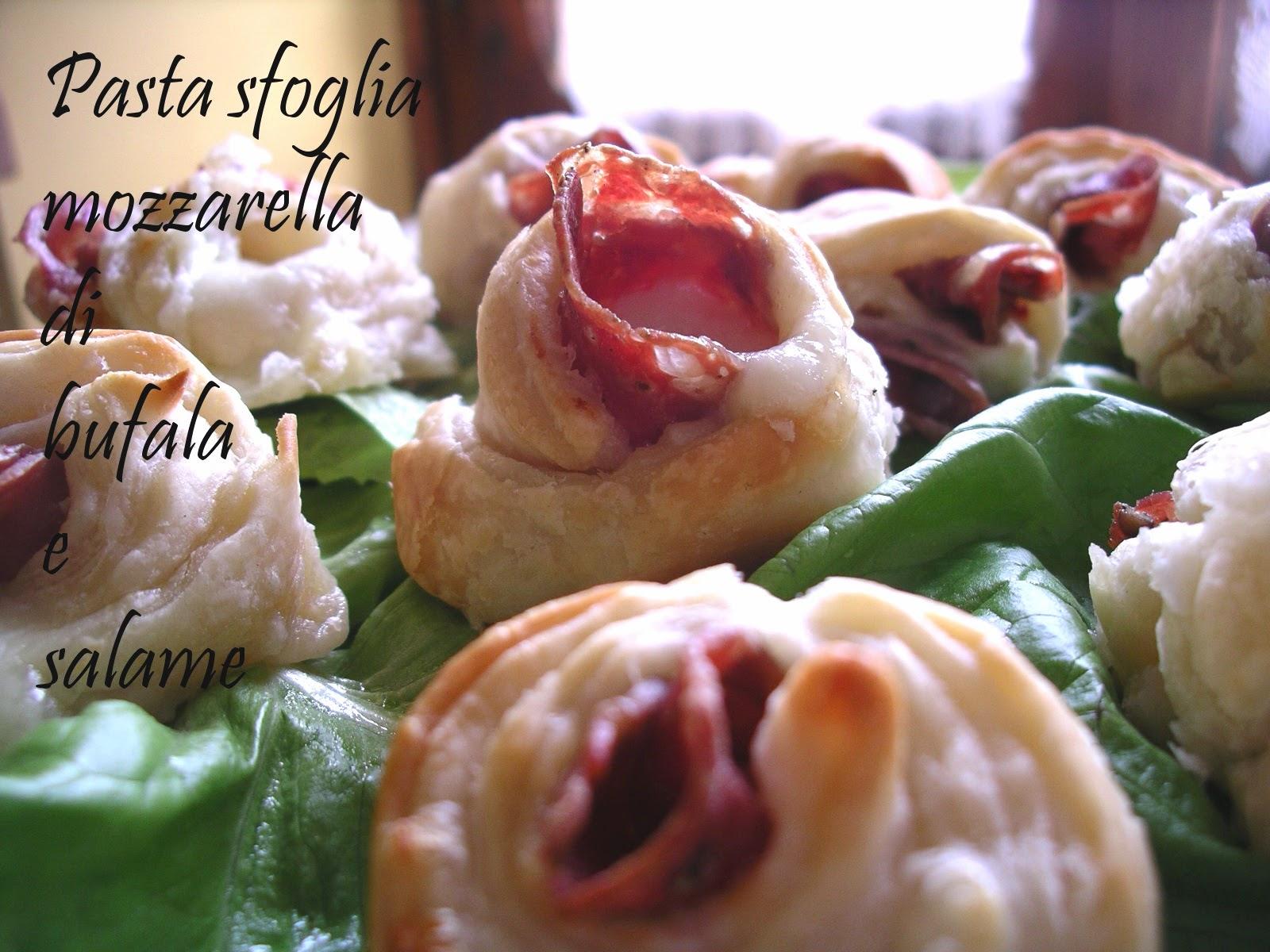 finger food Pasta sfoglia fatta in casa salame Cacciatore Dop e mozzarella di bufala