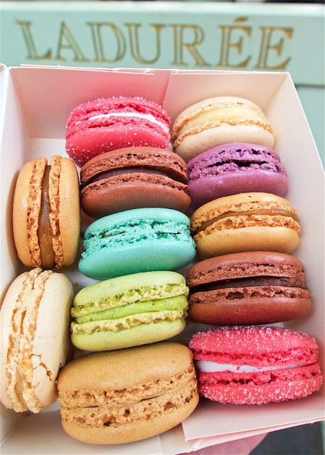 Ladurée macarons - a MUST when in Paris! My favorite was the salted caramel. Get a box and sample them all!