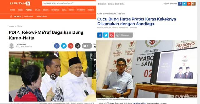 Protes Ketika Sandi Disebut Mirip Bung Hatta, Tapi Saat Ma'ruf Disebut PDIP Mirip Bung Hatta, Kok Pada Hening?