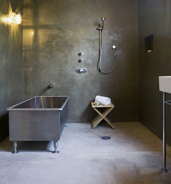 Industrial Bathroom with Concrete