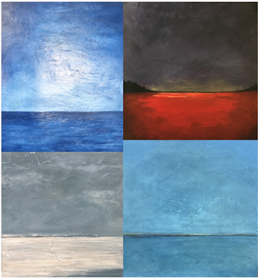 "R-L, U-L: ""Horizon"", ""Cranberry Bog at Sunset"". ""Distant Waves"", Across the Cove"""