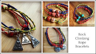 handmade, climbing rope, bracelets, charms, beads, jewelry, climber jewelry, hiker jewelry
