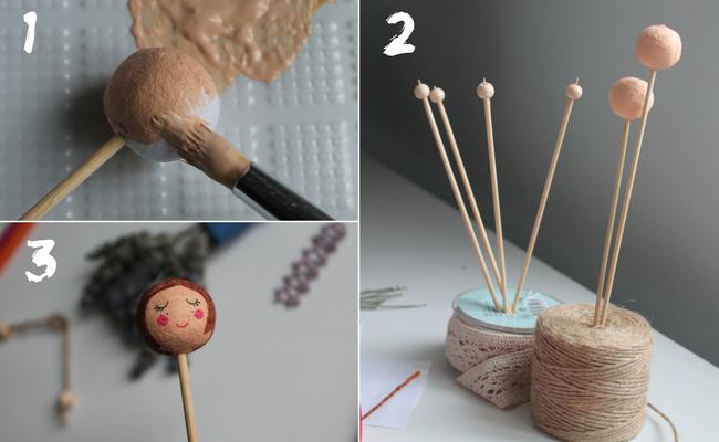 tutorial per realizzare il viso di una bambolina di lavanda